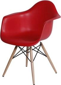 Cadeira Eames Dkr C/ Braço Polipropileno Base Eiffel Madeira Vermelho