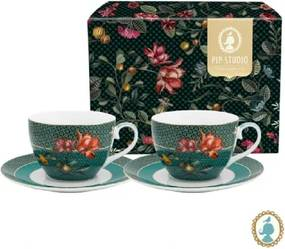 Set com 2 Xícara de Chá Bird Verde Winter Wonderland Pip Studio