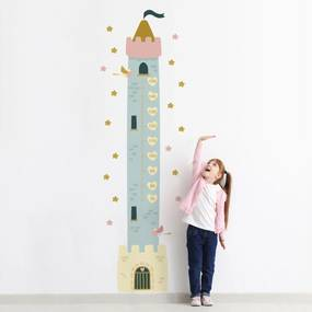 Adesivo de Princesas Régua de Crescimento Torre 188cm