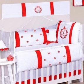 Kit Berço Padroeira Baby com a Inicial do Bebê Bordada Vermelho