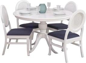 Conjunto Sala de Jantar Mesa Carla com 4 Cadeiras Medalhão Contemporânea Palha - Wood Prime 44661