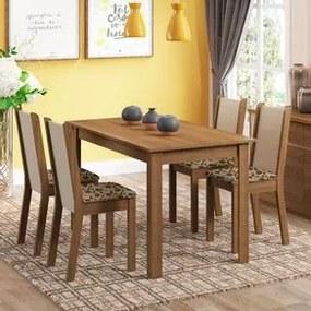 Conjunto Sala de Jantar Madesa Bea Mesa Tampo de Madeira com 4 Cadeiras Rustic/Crema/Bege Marrom Cor:Rustic/Crema/Bege Marrom