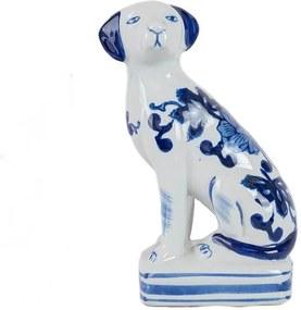Cachorro em Porcelana Azul e Branco Lado Direito