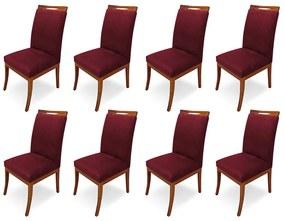 Kit 8 Cadeiras De Jantar Louis Estofada Base Madeira Peroba Suede Bordô
