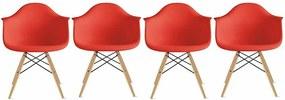 Conjunto 4 Cadeiras Eiffel Eames DAW Vermelha