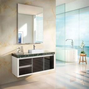 Conjunto Banheiro Heckler Suspenso Branco / Preto / Verde