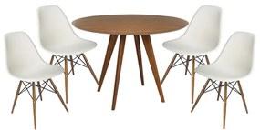 Conjunto Mesa Square Redonda Louro Freijó  88cm + 4 Cadeiras Eiffel Branca