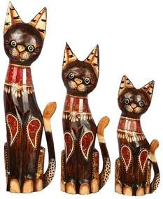 Trio Gatos em Madeira Escura c/ Mosaico