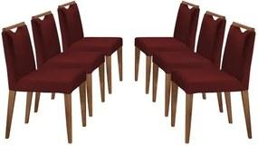 Kit 6 Cadeiras de Jantar Estofada Bordô em Veludo Edam