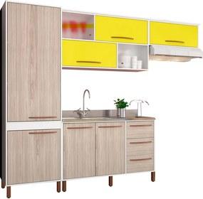 Cozinha Compacta Hibisco Branco, Bege e Amarelo Móveis Albatroz