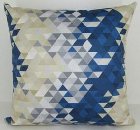 Capa almofada LYON Veludo estampado Triângulos Azul 50x50cm