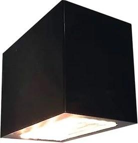 Arandela Alumínio Vidro Preta Led 4W 3000K Ip65