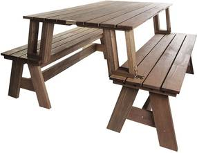 Conjunto Bancos que Vira Mesa 150 cm Nogueira - Wood Prime MR 34622