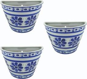 Conjunto 3 Vasos de Parede em Porcelana Azul Colonial 15 cm (com furo)