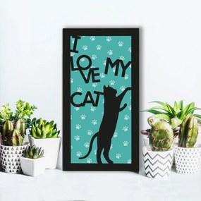 Quadro Alto Relevo Frase I Love My Cat Verde40x75cm