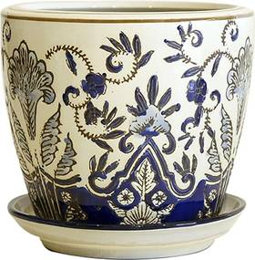 Cachepot em Porcelana com Prato Floral Azul e Branco D21cm x A19cm