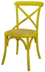 Cadeira Katrina Madeira Assento em Rattan cor Amarela - 55467 Sun House
