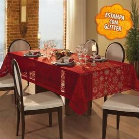 Kit 2 Toalha de Mesa: Quadrada Natal 75, Retangular Renda Vermelha 8 Lugares