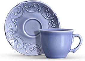 Jogo Xicaras Chá Ceramica c/Pires 200ml Charmonix 6pcs CJ8