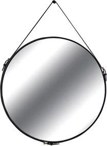 Espelho de Parede Redondo Monte Carlo com Moldura e Fivela em Couro