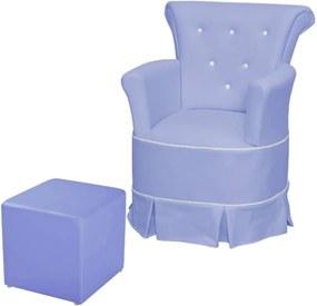 Poltrona de Amamentação com Balanço e Puff Bárbara Phoenix Corino Azul Royal/Branco