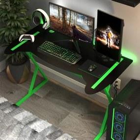 Mesa Gamer em Metal com Pés Neon | Tam: 116x65cm | Cor: Preto com Verde | Mod: Controller