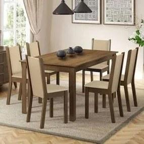 Conjunto Sala de Jantar Madesa Miriam Mesa Tampo de Madeira com 6 Cadeiras Rustic/Crema/Pérola Cor:Rustic/Crema/Pérola