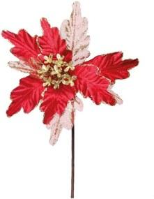 Flor artificial decoraçÁo natal poinsetia glitter vermelha