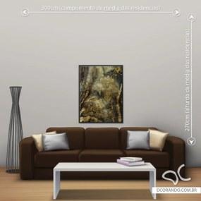 Quadro Abstrato Gold - Médio 86cm x 65cm, Tela + Moldura Preta