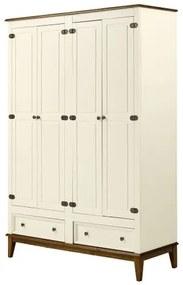 Armario Malibu 4 Portas e 2 Gavetas cor Off White com Amendoa 204 cm - 63669 Sun House