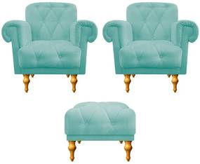 kit 02 Poltronas e 01 Puff Dani Suede Azul Tiffany - ADJ Decor