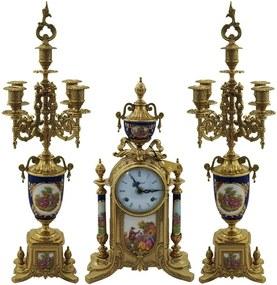 Relógio de Mesa com 2 Castiçais em Porcelana Italiana