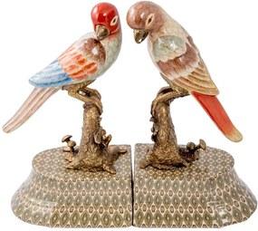 Aparador de Livros Decorativo de Porcelana e Bronze Birds