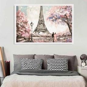 Quadro Love Decor Com Moldura Primavera Em Paris Branco  Médio