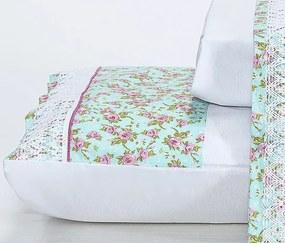 Roupa de Cama Casal Queen Elegance 180 Fios 04 Peças - Branco / Floral
