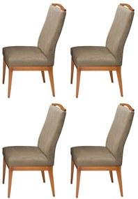 Conjunto 4 Cadeiras Decorativa Lara Aveludado Nude