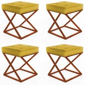 Kit 4 Puffs Decorativos Tokyo Quadrado Base de Ferro Bronze Suede Amarelo