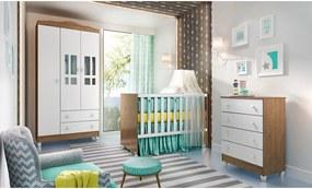 Dormitório Ariel Guarda Roupa 3 Portas/Cômoda Ariel/Berço Gabi Amadeirado Carolina Baby Marrom/Branco