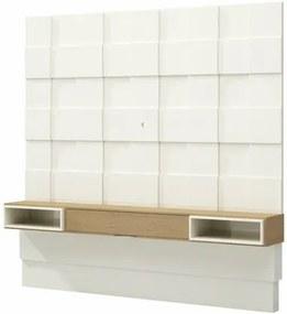 Painel Quadriculado Hungria cor Off White Brilho com Carvalho 2,25 MT (LARG) - 56495 Sun House