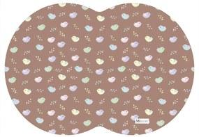 Tapete PET Mdecore Geométrico Pássaros Marrom54x39cm