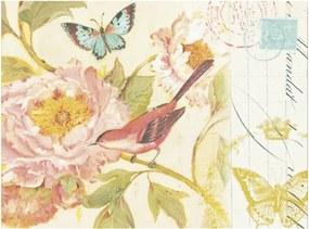 Placa Decorativa Pássaro Vermelho e Flor Rosa Média em Metal