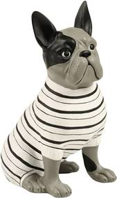 Estatueta Cachorro Suéter Listrado - 20cm