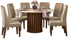 Mesa de Jantar 136 cm Pegasus D04 com 06 Cadeiras Toronto Trufa/Creme/Veludo Cáqui - ADJ DECOR