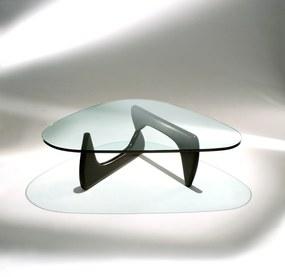 Mesa de Centro Noguchi Madeira Tonalizada e Tampo Vidro Cristal Studio Mais Design by Isamu Noguchi