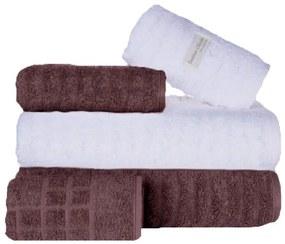 Toalha de Banho 100% Algodão jogo com 2 banho 2 rosto 1 piso Fio Penteado Branca e Roxa