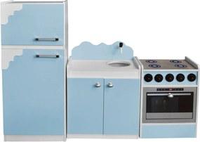 Kit Cozinha de Brinquedo Infantil 03 Peças Azul Bebê/Branco - Criança Feliz