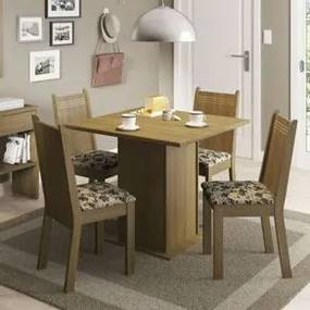 Conjunto Sala de Jantar Kate Madesa Tampo de Madeira com 4 cadeiras Rustic/Bege Marrom Cor:Rustic/Bege Marrom