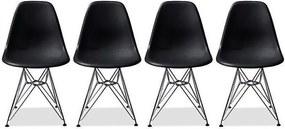 Conjunto 4 Cadeiras Eiffel Eames DSR Preta