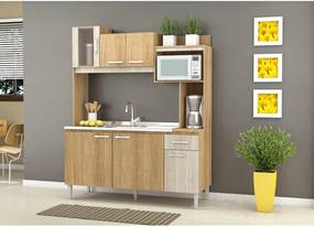 Cozinha Compacta Angel S/Tampo Carvalho/Blanche Fellicci Móveis