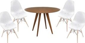 Conjunto Mesa Square Redonda Louro Freijó 80cm + 4 Cadeiras Eiffel Vazada Branca